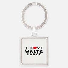 I Love Waltz Square Keychain