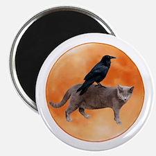 "Cat Raven Moon 2.25"" Magnet (10 pack)"