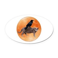 Cat Raven Moon Oval Car Magnet