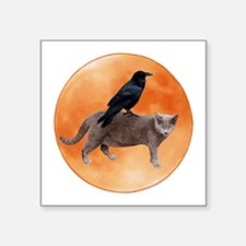 "Cat Raven Moon Square Sticker 3"" x 3"""