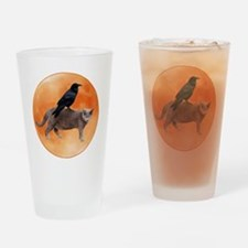 Cat Raven Moon Drinking Glass