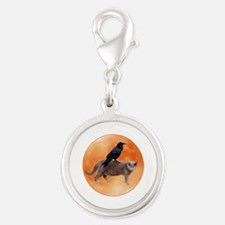 Cat Raven Moon Silver Round Charm