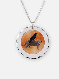 Cat Raven Moon Necklace