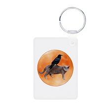Cat Raven Moon Aluminum Photo Keychain