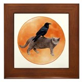 Crow and cat Framed Tiles