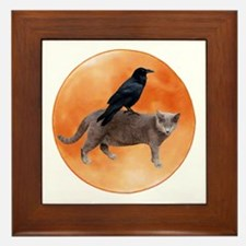 Cat Raven Moon Framed Tile