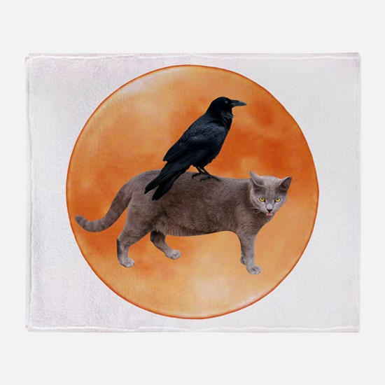 Cat Raven Moon Throw Blanket