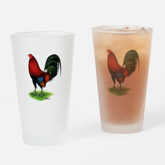 Dark Red Gamecock Drinking Glass