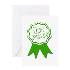Green 1st Place Ribbon Greeting Cards