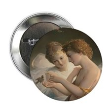 "Cupid and Psyche peace love joy 1 2.25"" Button"