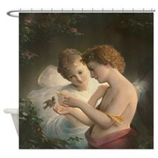 Cupid and Psyche peace love joy 1 Shower Curtain