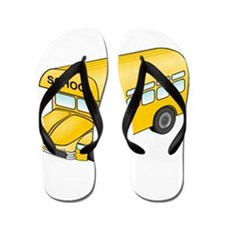 Cartoon School Bus Flip Flops