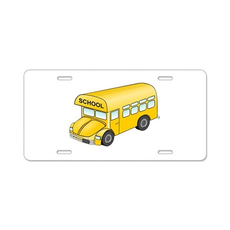 Cartoon School Bus Aluminum License Plate