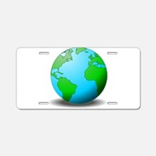 Earth Globe Aluminum License Plate