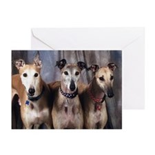 Greyhounds Three Greeting Cards (Pk of 10)