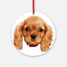 CavalierKingCharlesSpaniel_face001 Ornament (Round