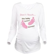 Baby Knows Karate Pink Brown Long Sleeve Maternity