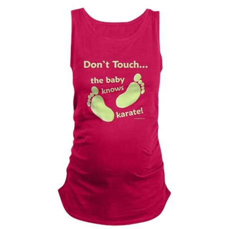 Baby Knows Karate Green Maternity Tank Top