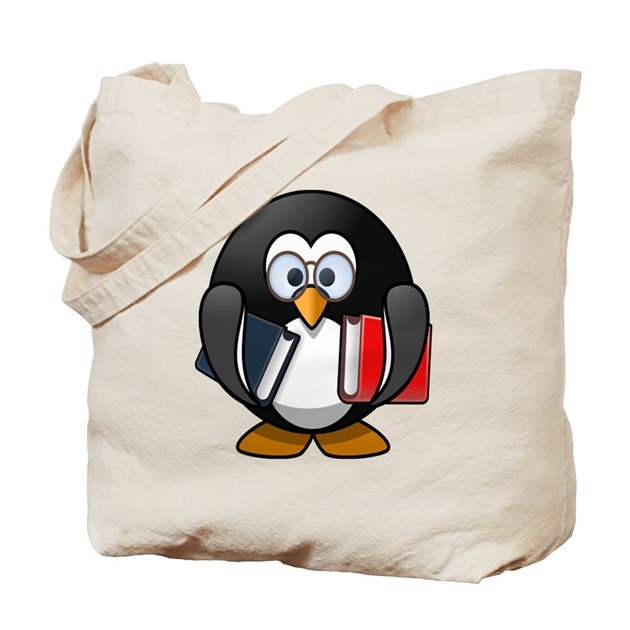 Penguin Book Cover Tote Bag ~ Cartoon penguin holding books tote bag by istudiographics