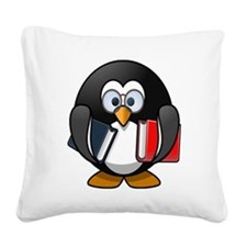 Cartoon Penguin Holding Books Square Canvas Pillow
