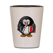 Cartoon Penguin Holding Books Shot Glass