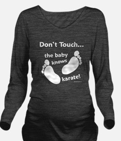 Karate Baby White Long Sleeve Maternity T-Shirt