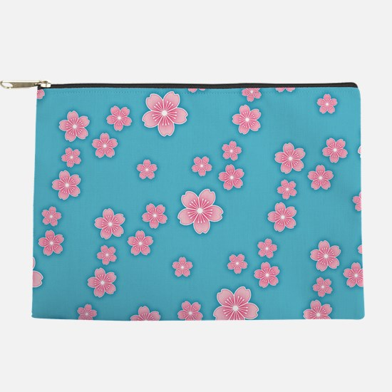 Cherry Blossoms Blue Pattern Makeup Pouch