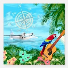 "Tropical Travels Square Car Magnet 3"" x 3"""