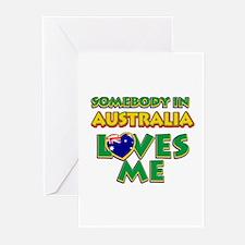 Somebody in Australia Loves me Greeting Cards (Pk