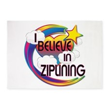 I Believe In Ziplining Cute Believer Design 5'x7'A