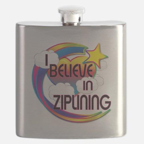 I Believe In Ziplining Cute Believer Design Flask