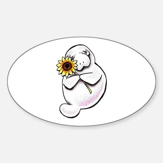 Sunny Manatee Sticker (Oval)