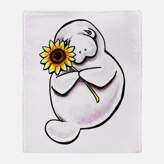 Sunny Manatee Throw Blanket