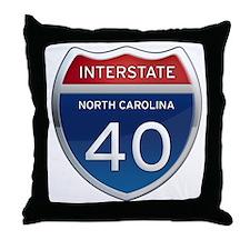NC Interstate 40 Throw Pillow