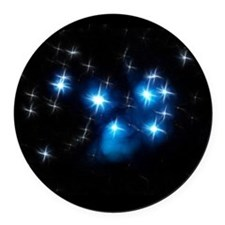 Pleiades Blue Star Cluster Round Car Magnet