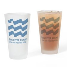 TRR logo lt blue Drinking Glass