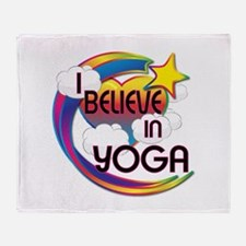 I Believe In Yoga Cute Believer Design Throw Blank