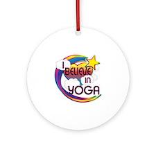 I Believe In Yoga Cute Believer Design Ornament (R