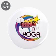 """I Believe In Yoga Cute Believer Design 3.5"""" Button"""