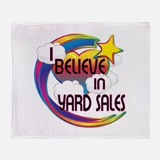 I Believe In Yard Sales Cute Believer Design Throw