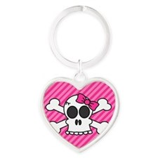 Cute Skull and Crossbones with Pink Bow Keychains