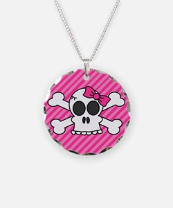 Cute Skull and Crossbones with Pink Bow Necklace