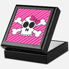Cute Skull and Crossbones with Pink Bow Keepsake B