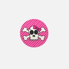 Cute Skull and Crossbones with Pink Bow Mini Butto