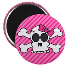 Cute Skull and Crossbones with Pink Bow Magnets