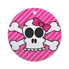 Cute Skull and Crossbones with Pink Bow Ornament (