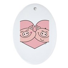 Piggy Love Oval Ornament