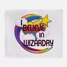 I Believe In Wizardry Cute Believer Design Throw B