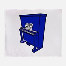 grand blue upright piano with music Throw Blanket
