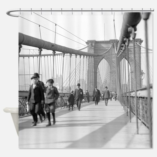 Brooklyn Bridge Pedestrians Shower Curtain